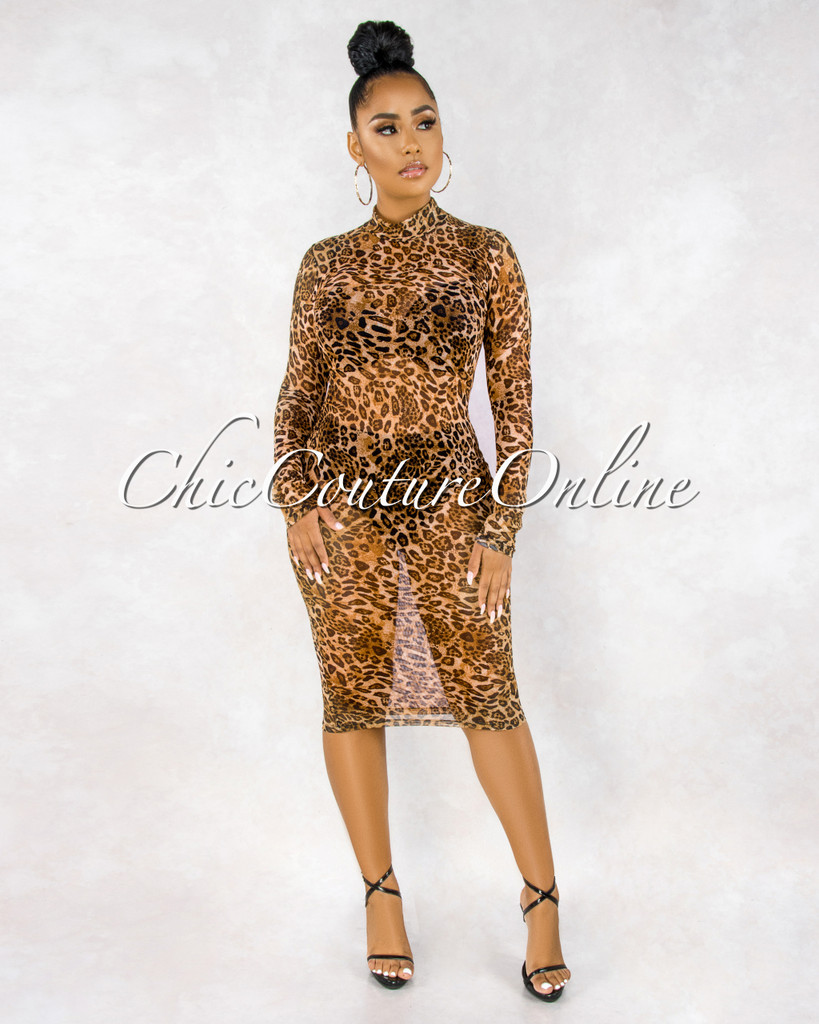 Adahy Leopard Print Sheer Mesh Long Sleeves Dress