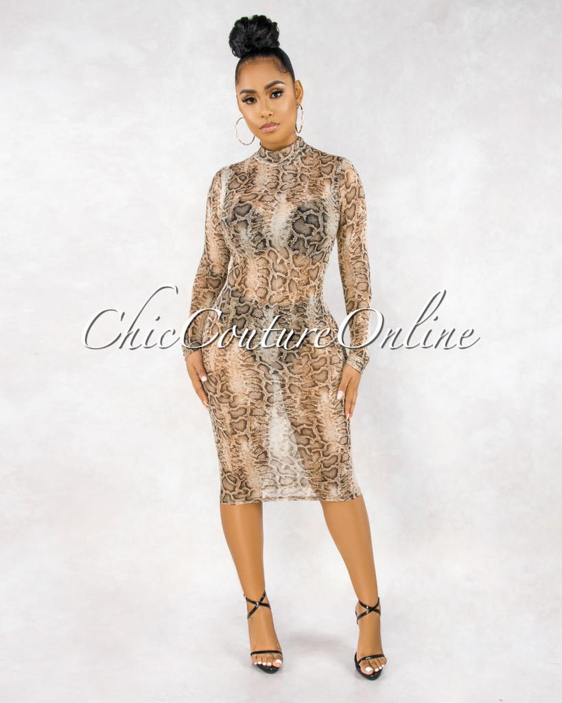 Carnell Snake Print Sheer Mesh Long Sleeves Dress