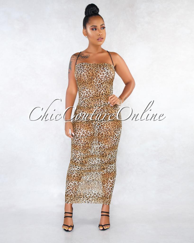 Tylore Leopard Print Sheer Mesh Ruched Maxi Dress