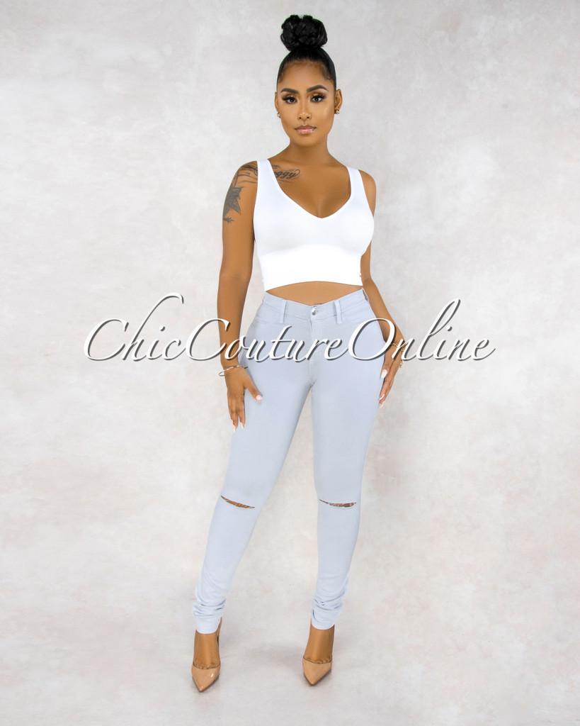 Kenya Silvery Blue Denim Cut-Out Knees Jeans