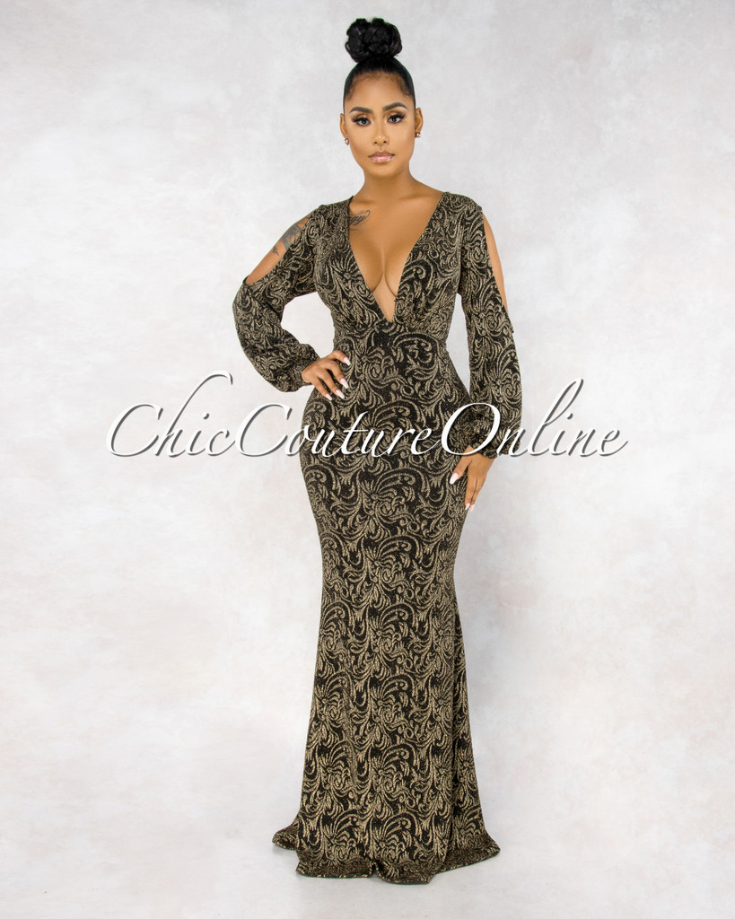 Faraji Black Gold Shimmer Cut-Out Shoulder Maxi Dress