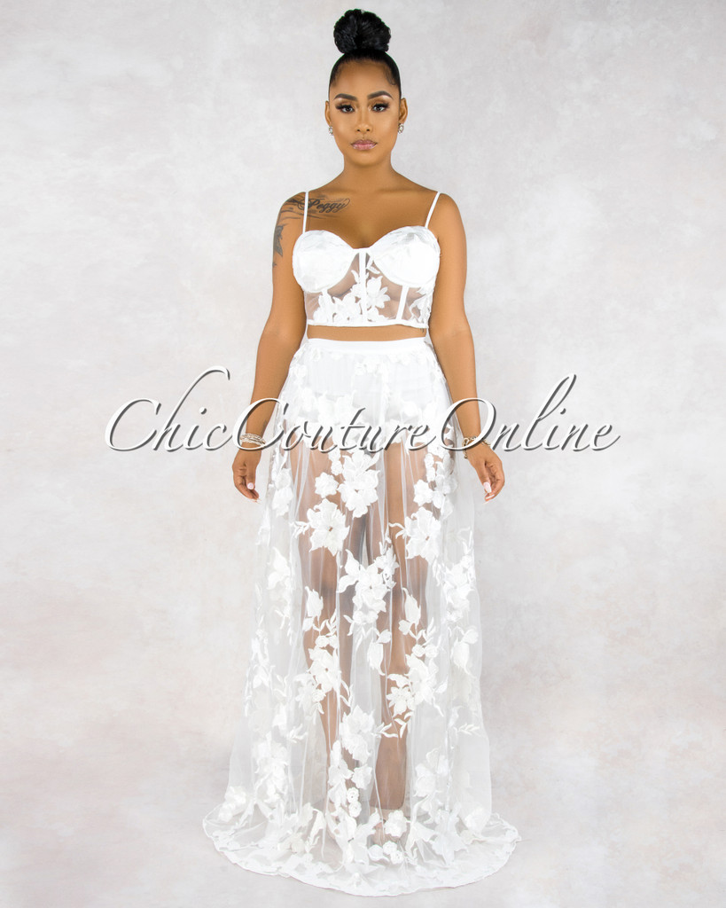 February White Embroidery Sheer Two Piece Skirt Set