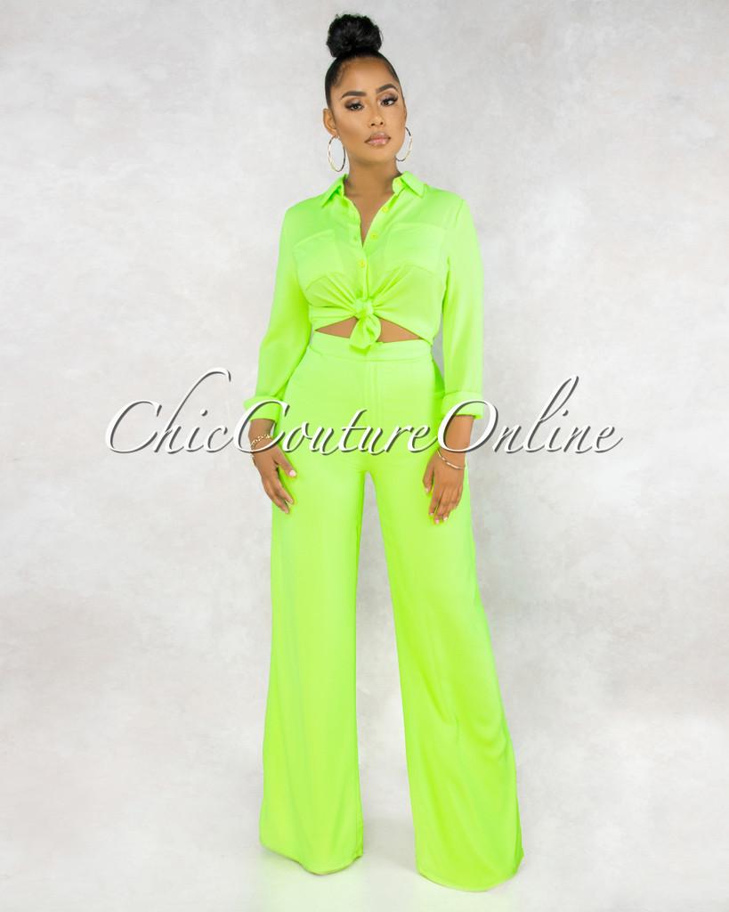 Thalita Neon Lime Buttons Blouse Trouser Pants Set