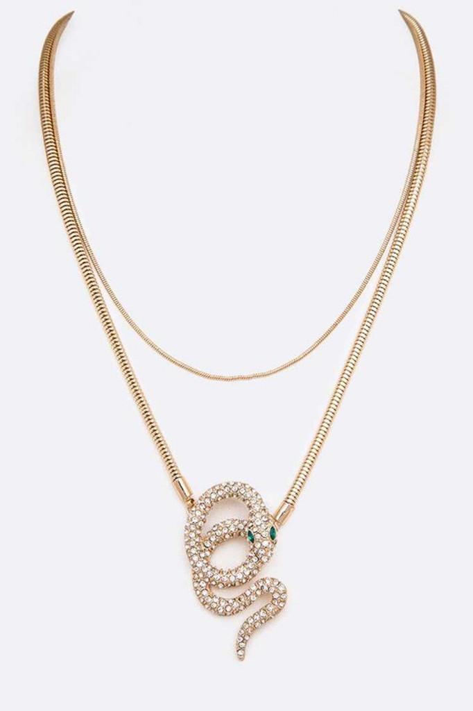Levi Gold Crystal Snake Pendant Necklace
