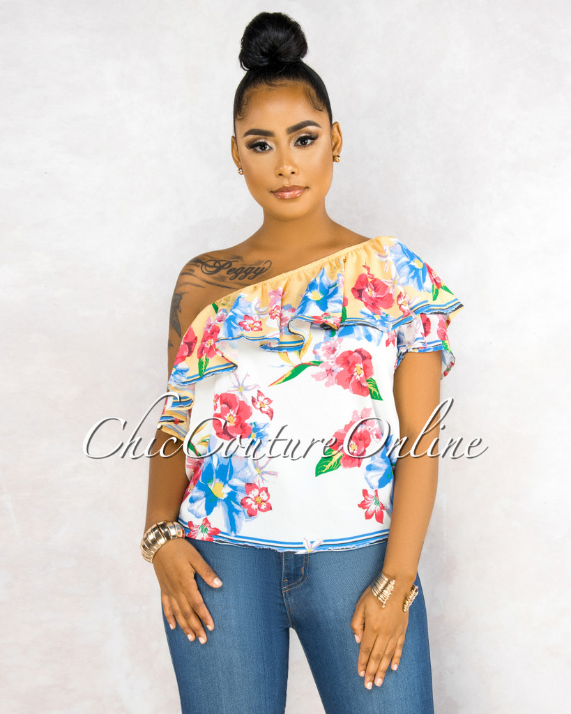 Rebecca Ivory Floral Print One Shoulder Ruffle Top