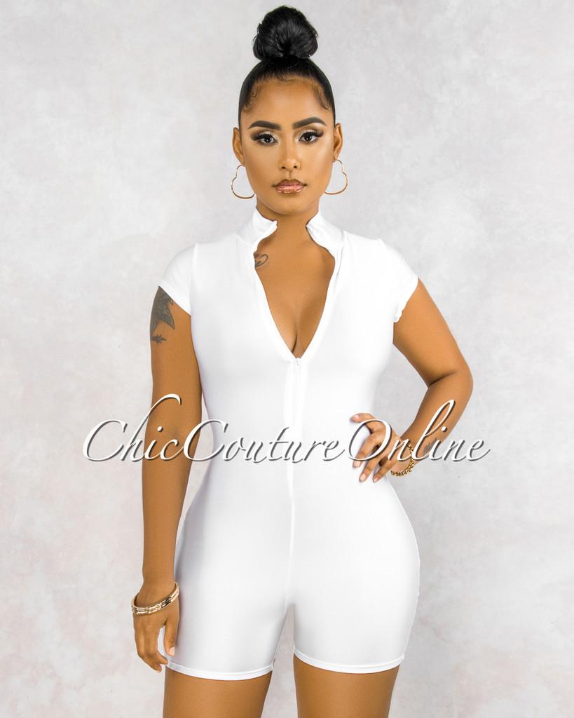 Flavia White Front Zipper Mock Neckline Romper
