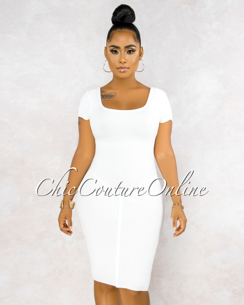 Giselle Off-White Ribbed Trim Details Midi Dress