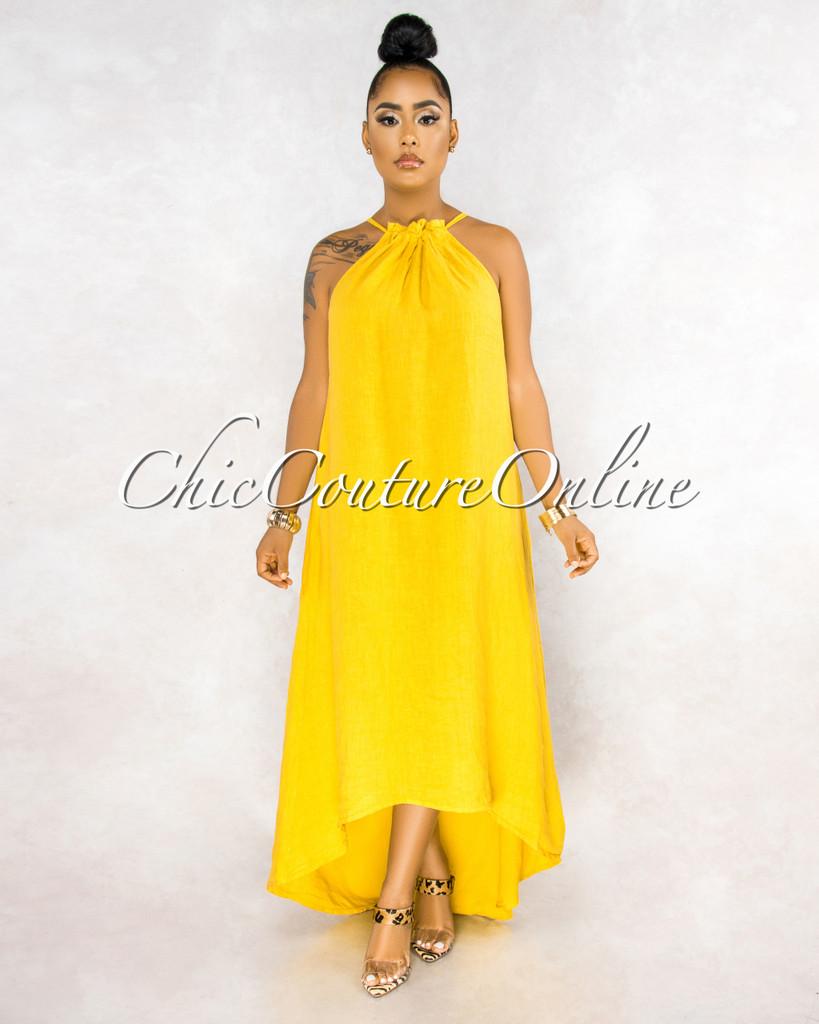 Kiah Yellow Ruched Neckline High-Low Halter Linen Dress