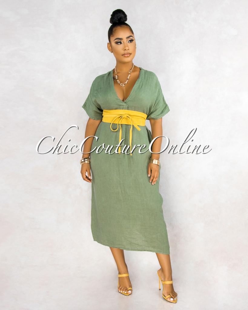Aura Olive Green Over-sized V-Neck Maxi LINEN Dress