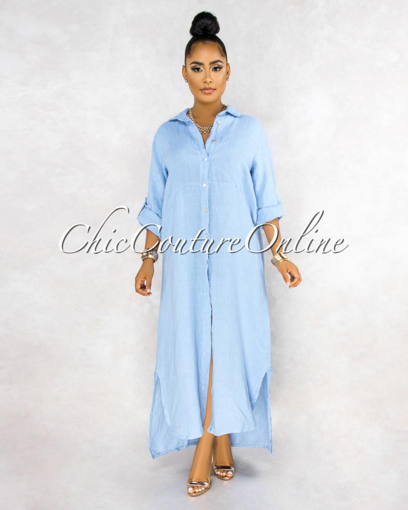 Daleah Baby Blue Front Buttons Shirt LINEN Maxi Dress