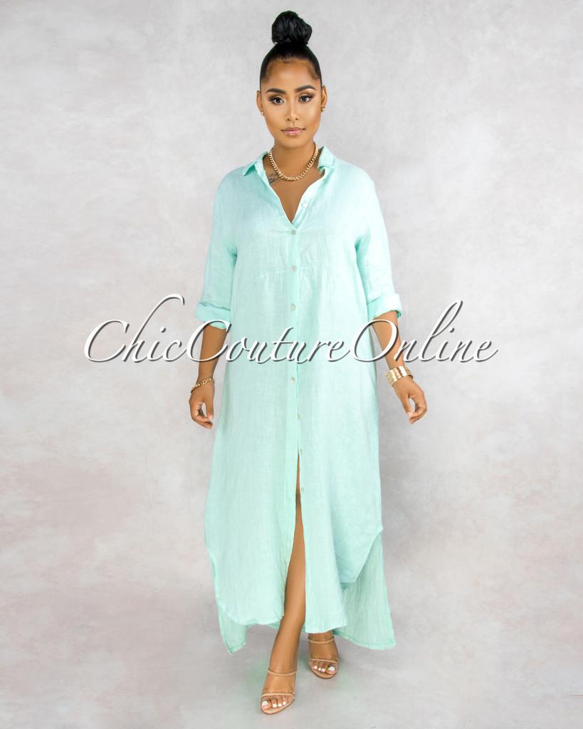 Daleah Mint Front Buttons Shirt LINEN Maxi Dress