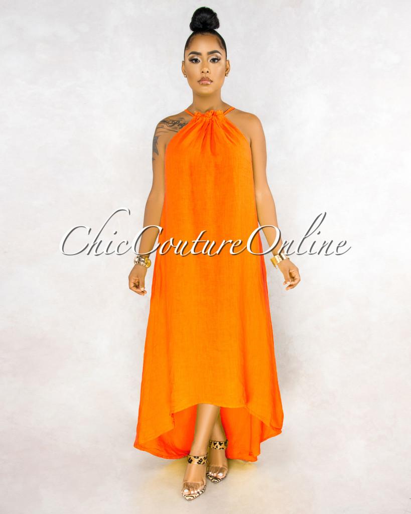 Kiah Orange Ruched Neckline High-Low Halter LINEN Dress