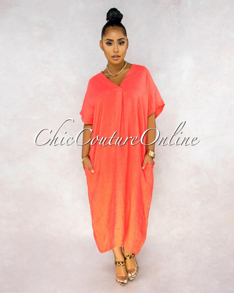 Aura Coral Over-sized V-Neck Maxi LINEN Dress