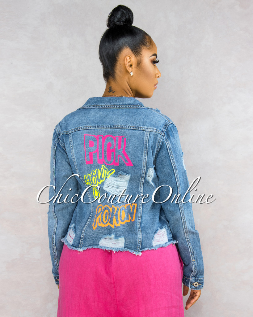 Briella Denim Washed Back Neon Graphics Jacket