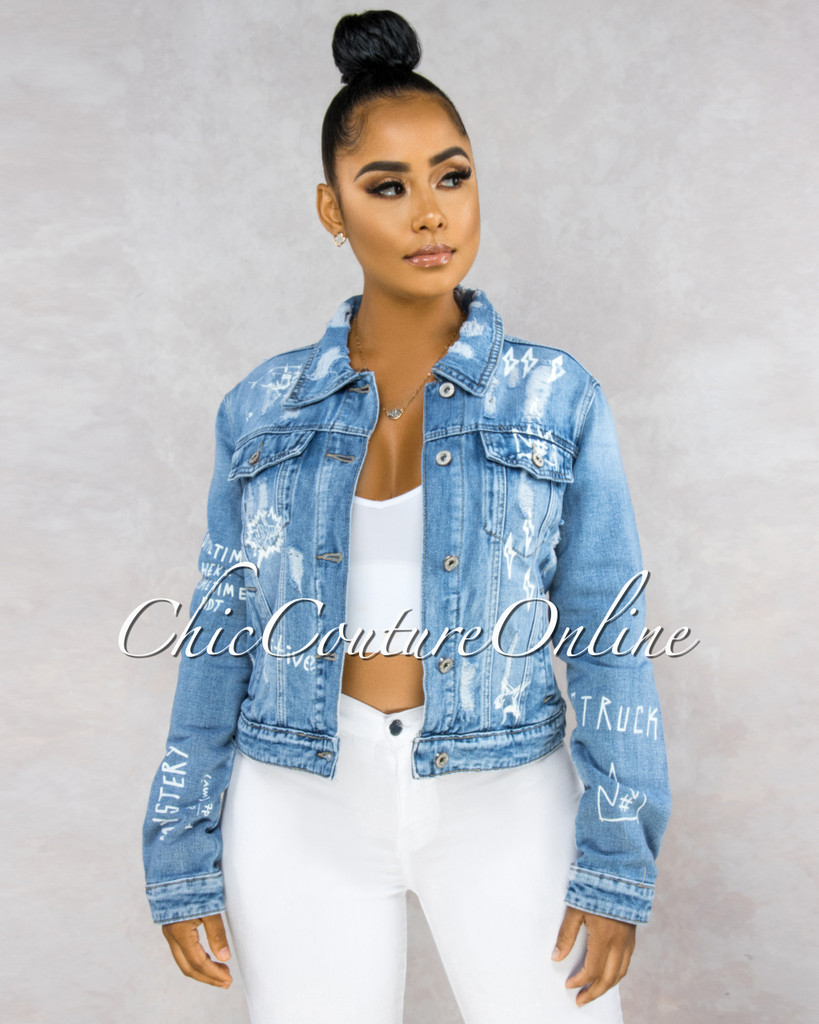 Camie Denim Washed White Graphics Jacket