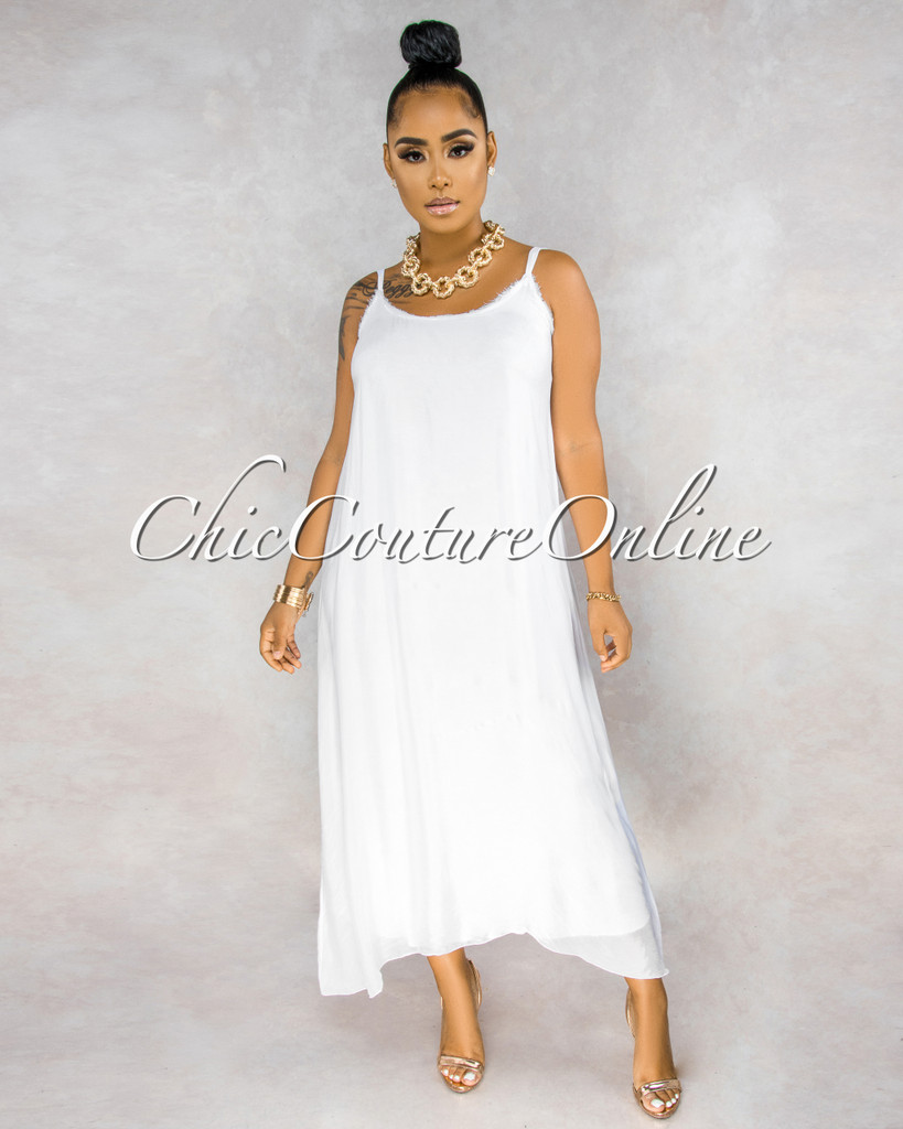Isabelli Off-White Halter Silky Maxi Dress