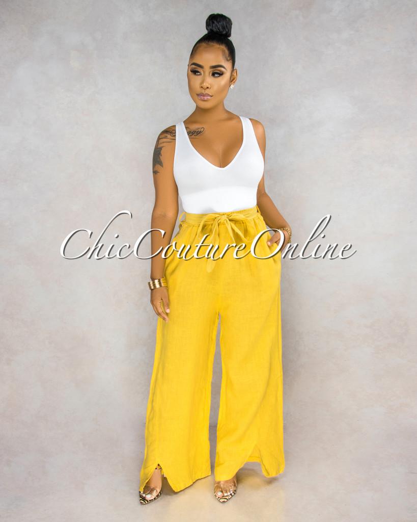 Janiece Yellow Self-Tie Belt Wide Legs LINEN Pants