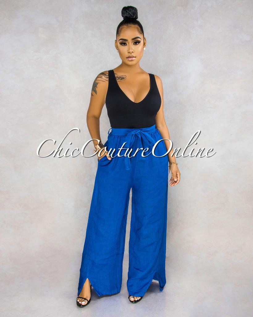 Janiece Royal Blue Self-Tie Belt Wide Legs LINEN Pants
