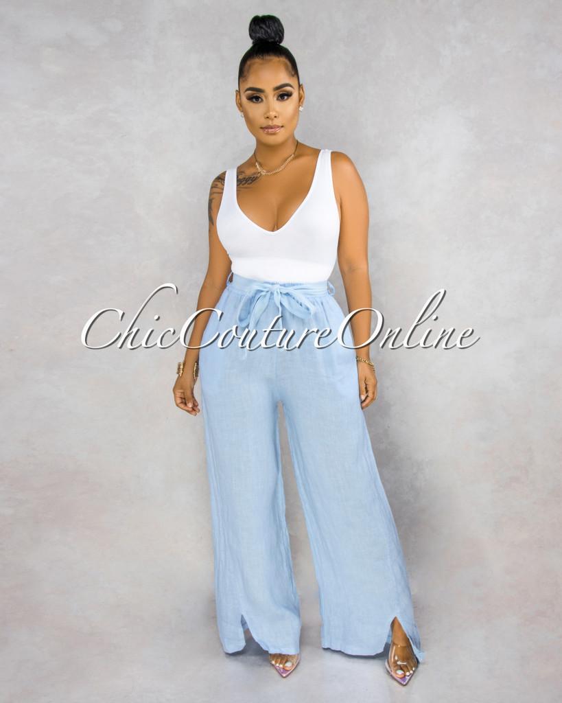 Janiece Baby Blue Self-Tie Belt Wide Legs LINEN Pants