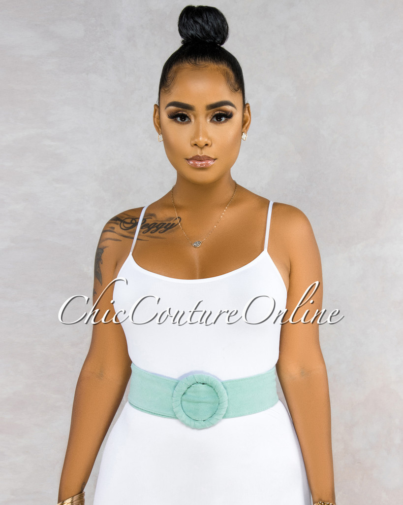 Fidelia Mint Suede LEATHER O-Ring Belt