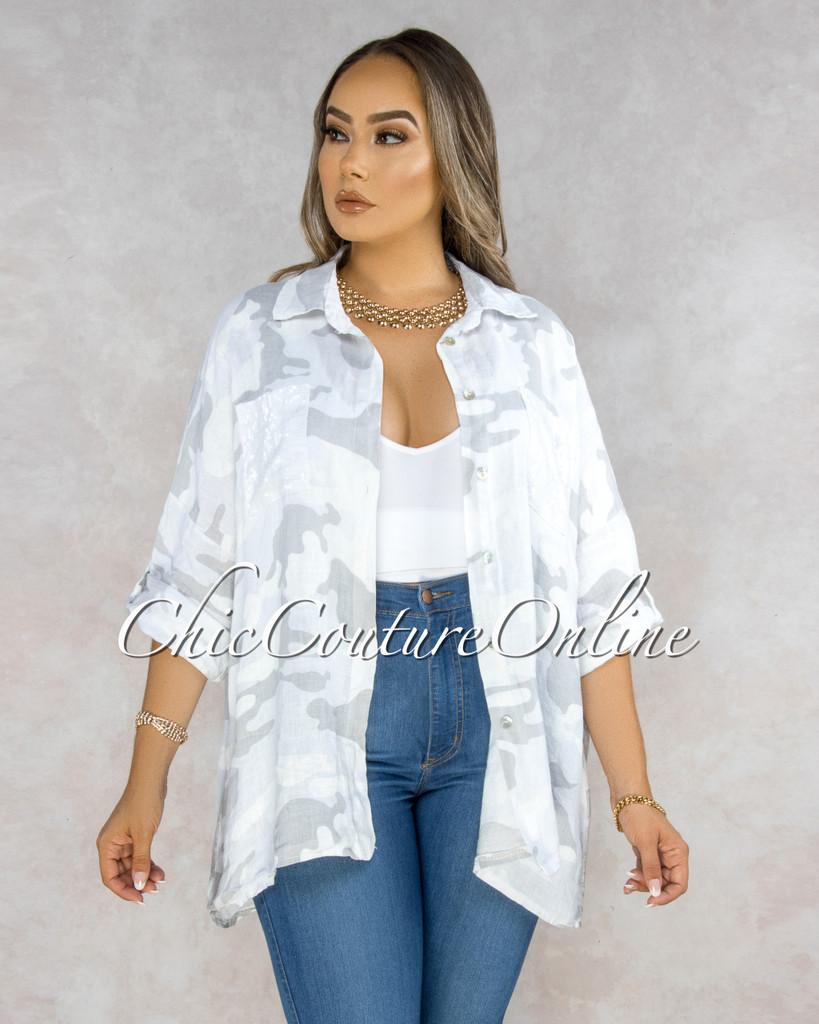 Fabian White Grey Camo Print Over-Sized LINEN Blouse