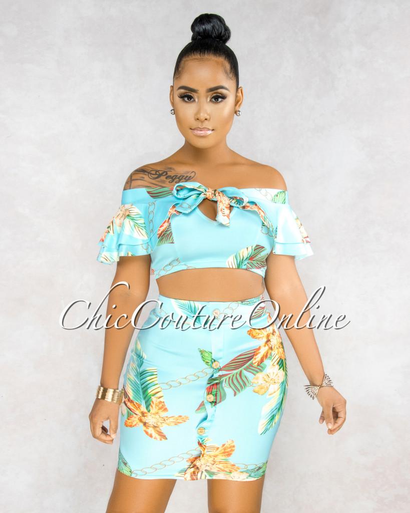 Olivia Aqua Floral Print Ruffle Top & Buttons Skirt Set