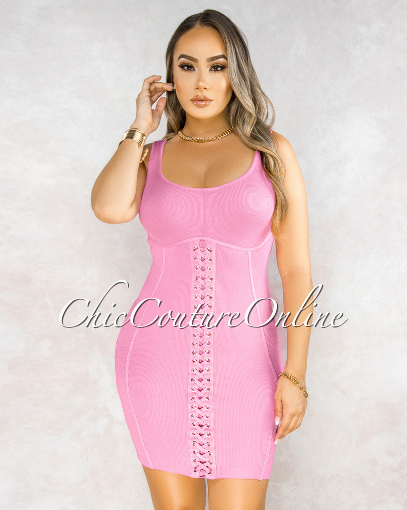 Tabby Pink Front Lace Knit Dress