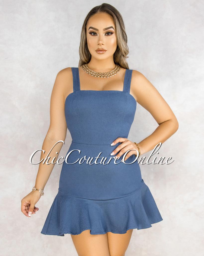 Jadiya Dark Denim Ruffle Hem Mini Dress