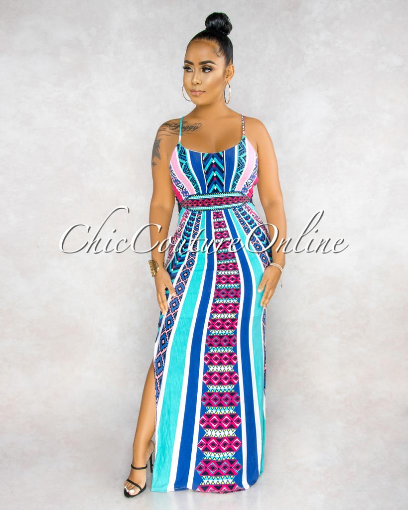 Maisoli Blue Multi-Color Print Back Key-Hole Maxi Dress