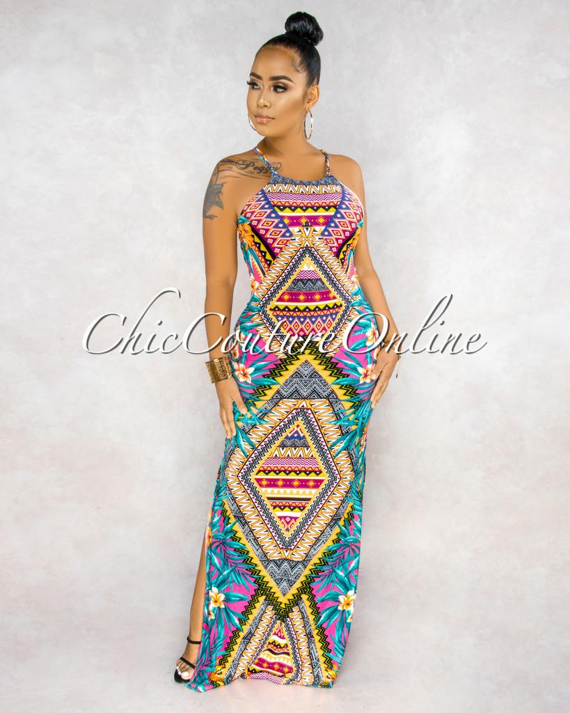 Leesa Neon Multi-Color Print Back Key-Hole Maxi Dress
