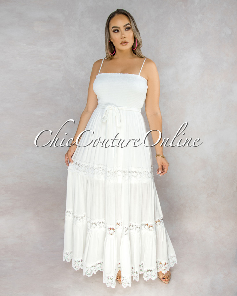 Beatrice Off-White Smocked Top Crochet Details Maxi Dress