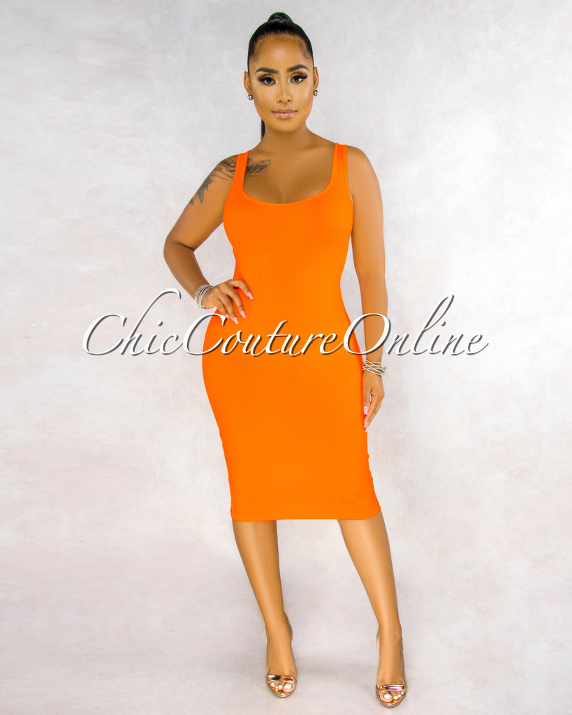 Rickie Orange Ribbed Tank Midi Dress