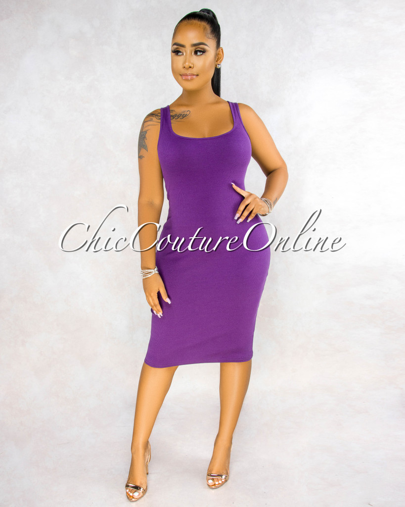 Rickie Purple Ribbed Tank Midi Dress