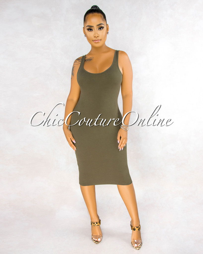 Rickie Military Green Ribbed Tank Midi Dress