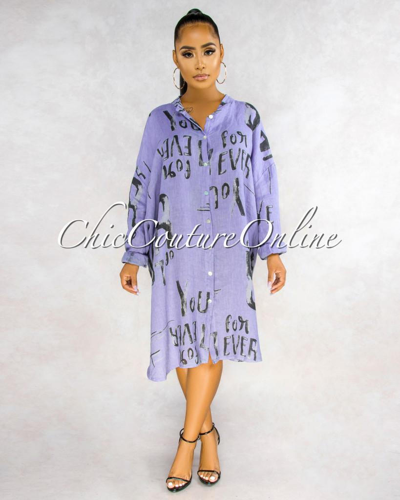 Giovanna Dusty Purple Black Graphics Shirt LINEN Midi Dress
