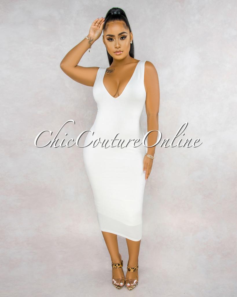 Crystal Ivory V-Neck Slip On Midi Dress