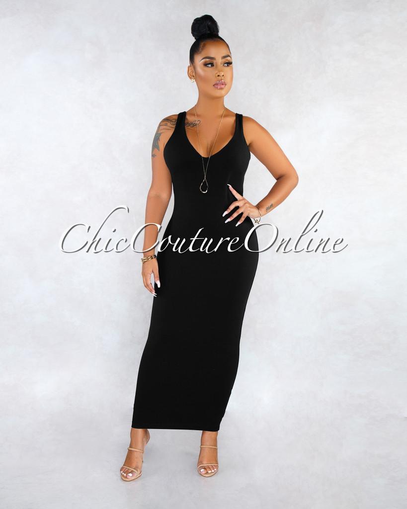 Crystal Black  V-Neck Slip On Midi Dress