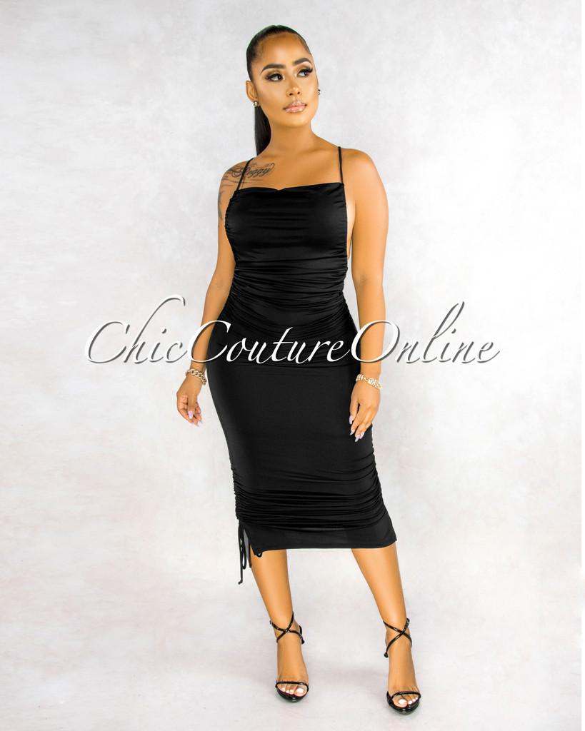 Almina Black Ruched Tie Sides Low Back Midi Dress