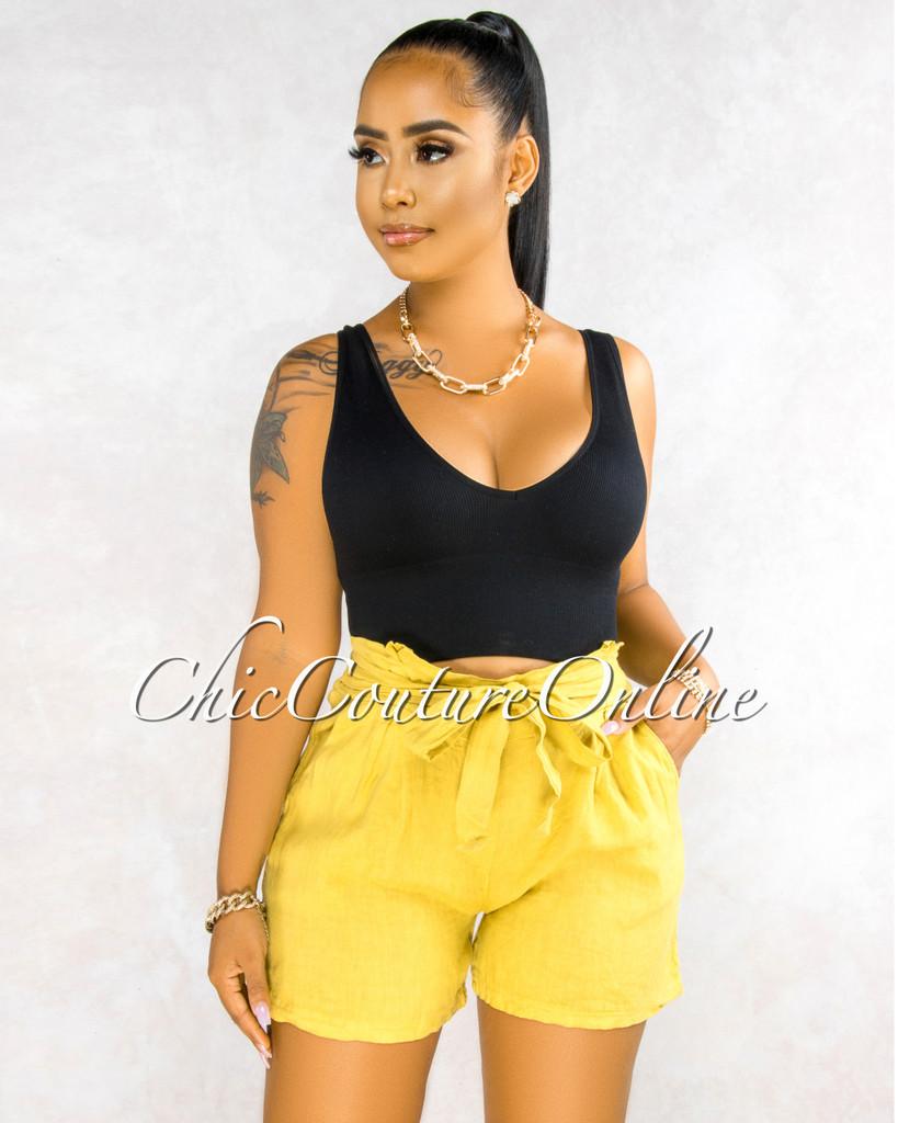 Delgado Mustard Yellow Paper-Bag LINEN Shorts
