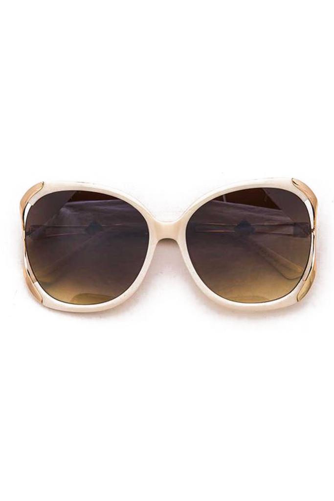 BB Oversized Beige Gold Trim Square Sunglasses