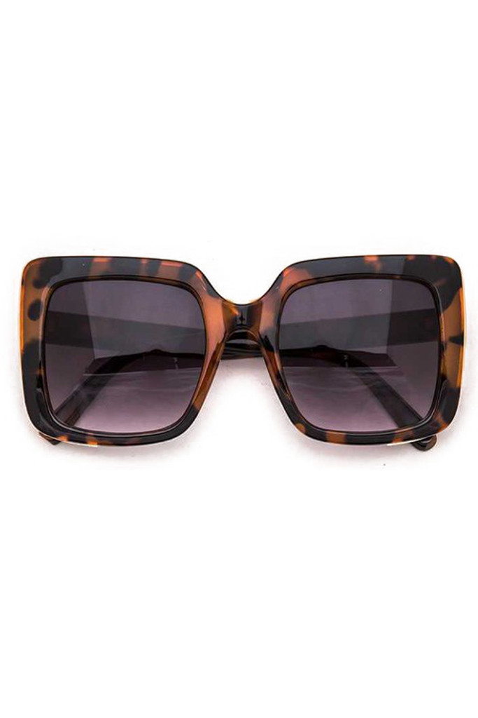 Vincent Big Square Tortoise Brown w/ Gold Trim Sunglasses