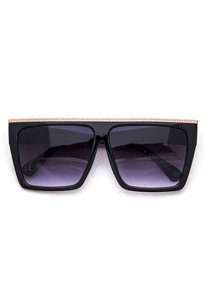 Tolle Oversized Black w/ Gold Bar Sunglasses