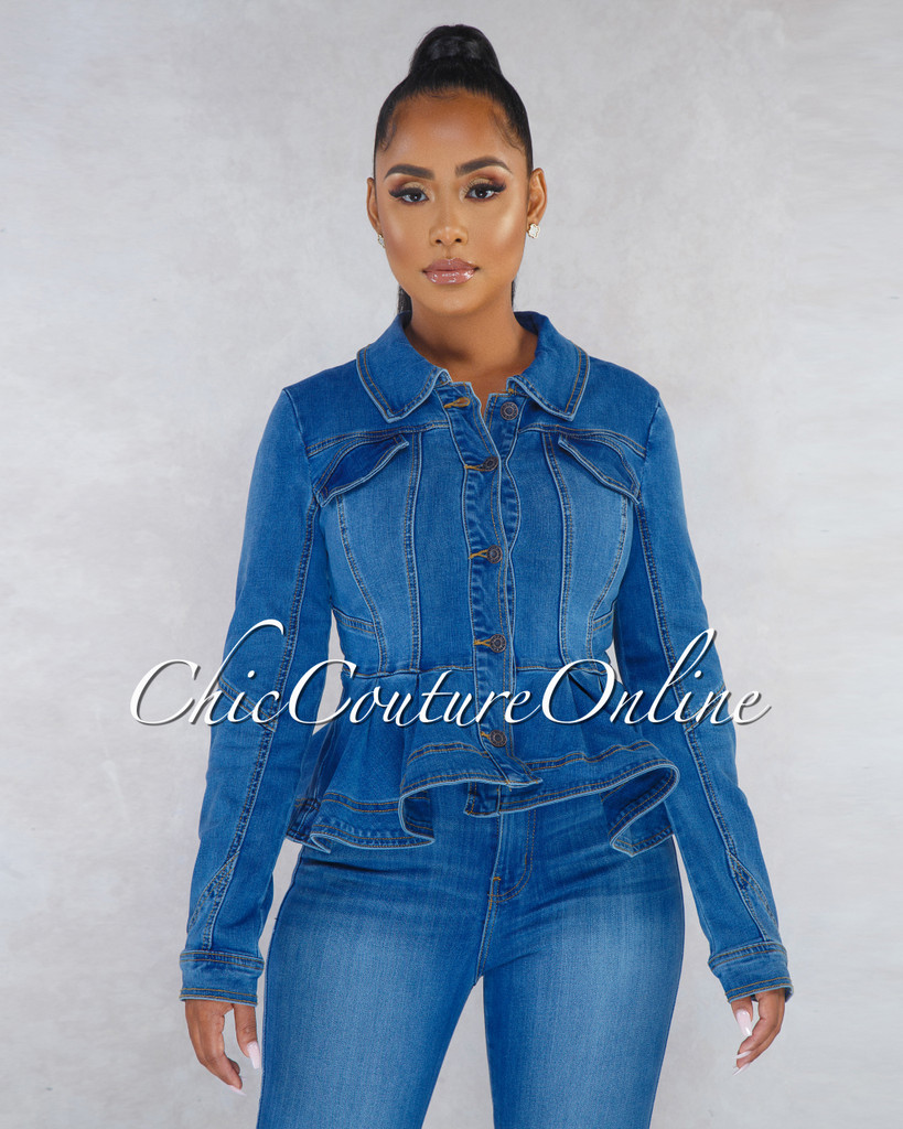 Meccah Washed Denim Long Sleeves Peplum Jacket