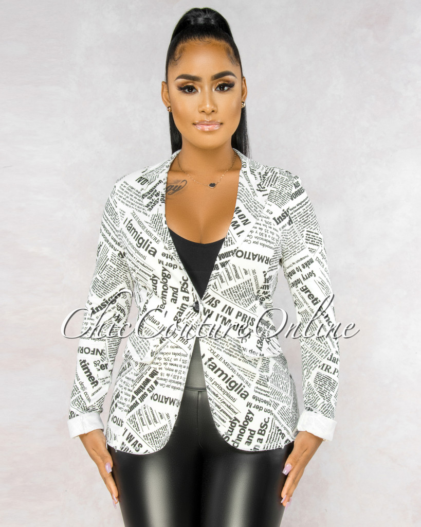 Aldo Black Ivory Newspaper Print Jacket