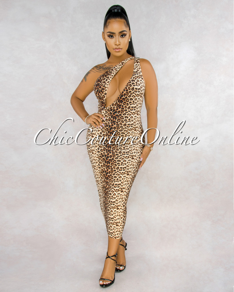 Biagio Leopard Print Cut-Out Single Shoulder Dress