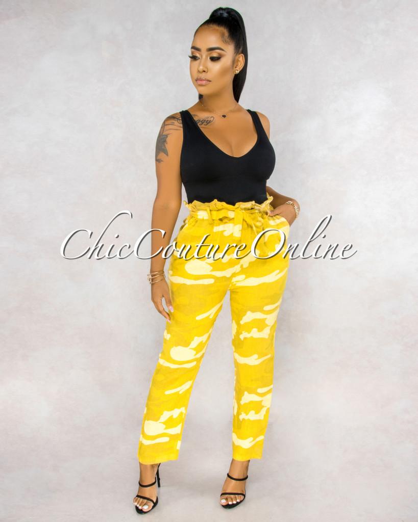 Martelli Yellow Camo Paper Bag LINEN Ankle Pants