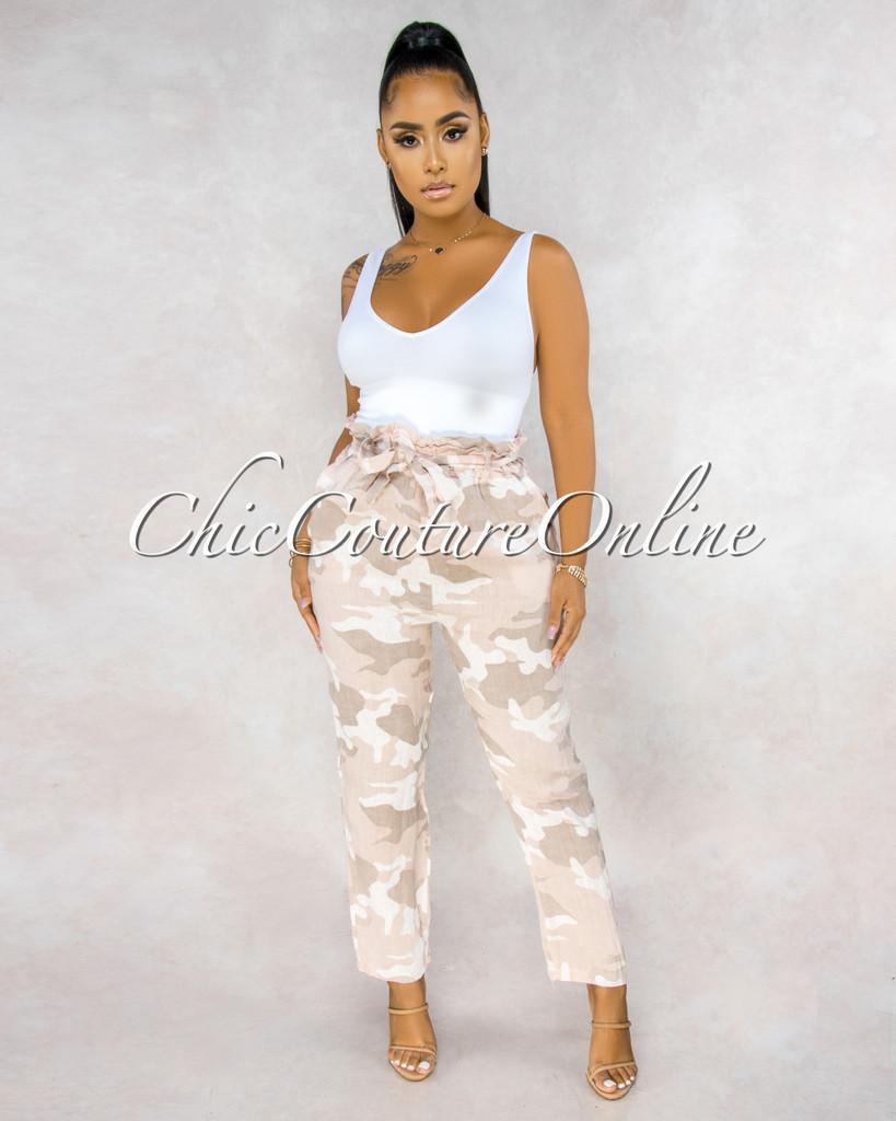 Martelli Blush Camo Paper Bag LINEN Ankle Pants