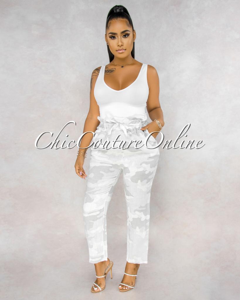 Martelli White Camo Paper Bag LINEN Ankle Pants