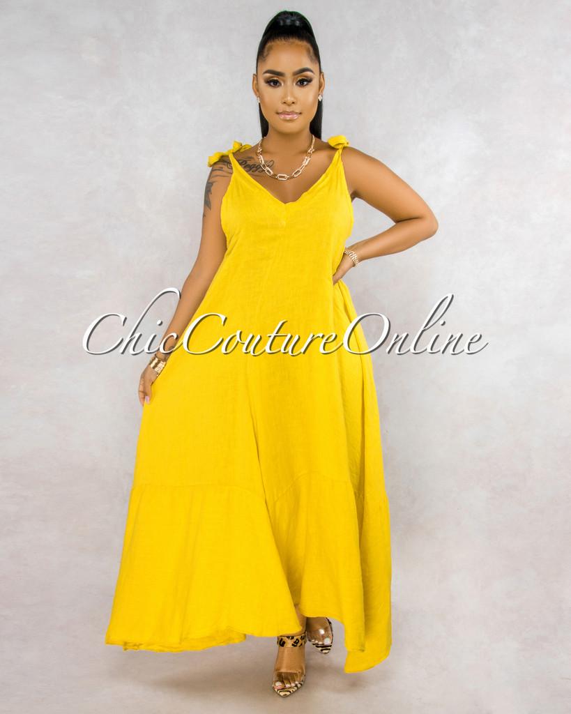 Armanie Mustard Yellow Flare LINEN Maxi Dress