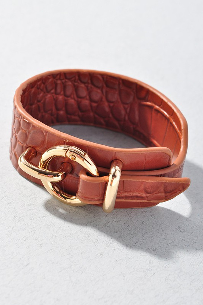 Lanna Hoop Buckle Brown Leather Bracelet